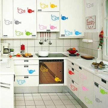 Color de dibujos animados de pescado pegatinas removibles - Cocina dibujo ...