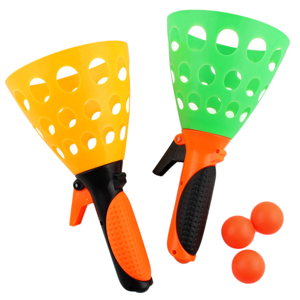Colorful Double Docking Balls With Blow Pipe Outdoor Interactive Rubber Toy For Children Throw Ball Catch Ball Toys