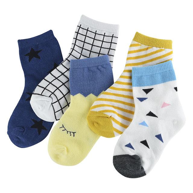 Boys Soft Cotton Socks 5 Pack Set