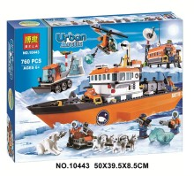 760pcs City series Ice Breaker Ship Arctic Explorers Scientist Helicopter Building Block LEPIN Toy Set 10443
