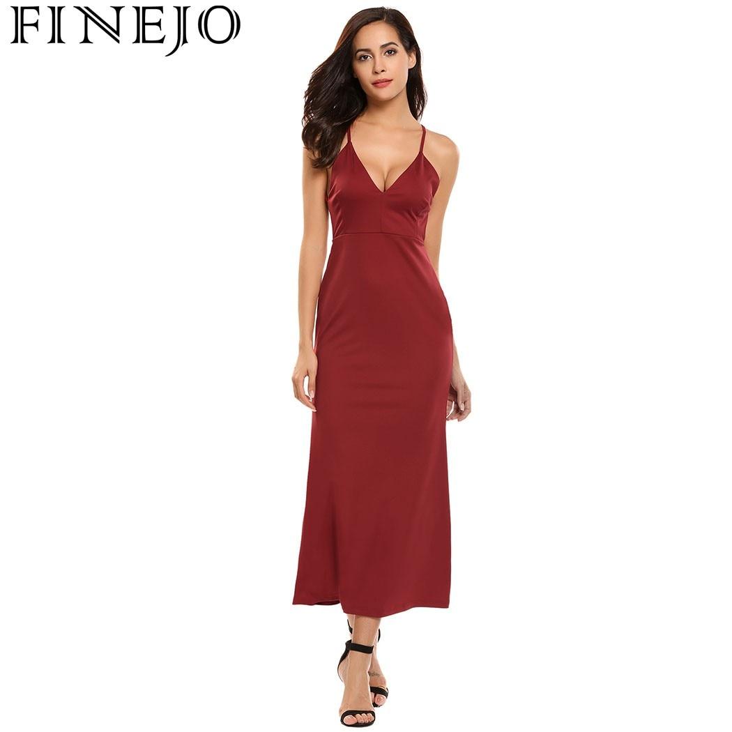 FINEJO Frauen Sexy Lange Kleider Vestidos Sommer Sleeveless Solid ...