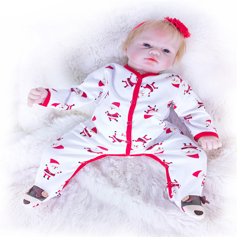 SanyDoll 20 inch 50 cm Silicone baby reborn dolls, doll reborn Lovely dress doll boy girl birthday gift