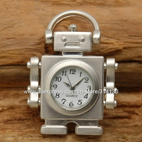Wholesale Classic Pocket Watch Necklace, Silver tone Robot Pocket Watches with Chain, good gift for boy, Freeshipping