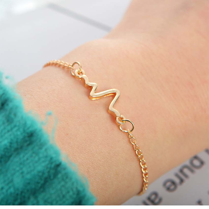 2018 New Simple Electrocardiogram charm women Bracelet Bracciali Pulseiras feminina Femme Bijoux pulseras mujer charm Jewelry