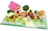 children wooden 3D puzzle toys/ cartoon farm plant animals assemble puzzles for Kids Child learning educational toys, box pack