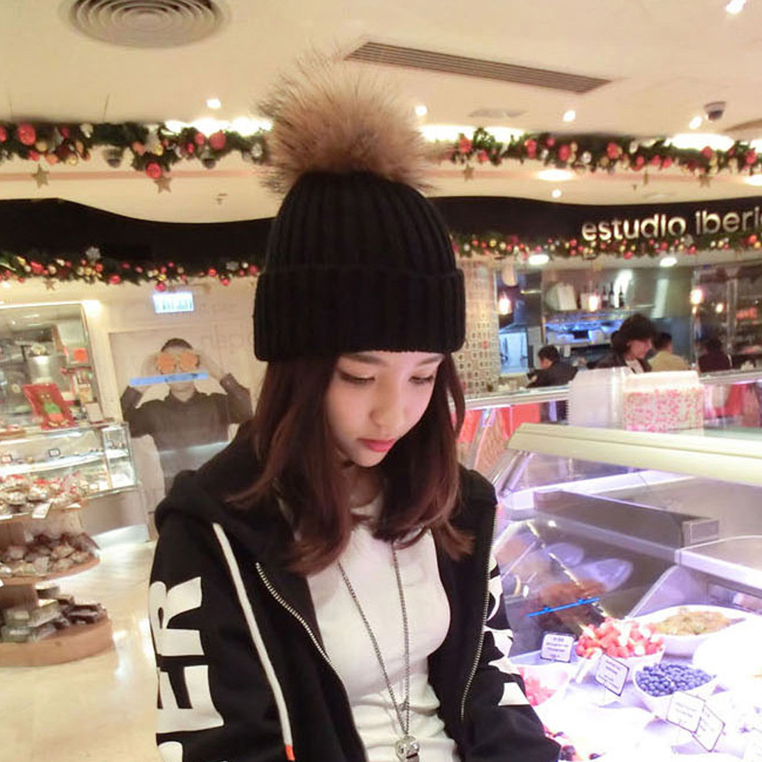 Classic Design Women Spring Winter Hats Beanies Knitted Cap Crochet Hat Rabbit Fur Pompons Ear Protect Casual Cap
