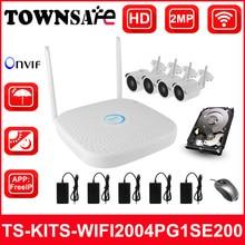 TOWNSAFE new 4CH Wireless WIFI NVR kits HD 1080P 2MP Bullet IP Camera IR Security System Video Surveillance P2P ONVIF