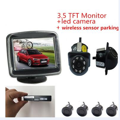 2.4 GHz Wireless Car Video Camera Monitor Parking Assistance Radar Car Monitors+Rearview Camera+wireless parking Sensor sinairyu 3in1 car parking assistance sensor reversing radar video all in one system connect car monitor and rearview camera