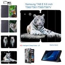 "MTT Caso da Cópia Do Tigre Para Samsung Galaxy Tab 9.6 E T560 T561 9.6 ""polegadas Tablet Couro Capa Protetora Shell Stand Case Livro"