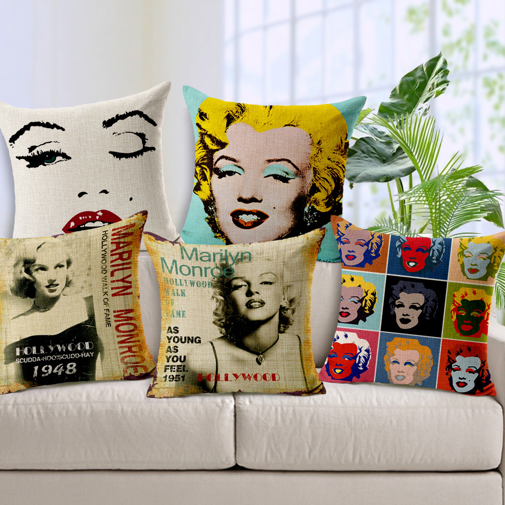 Cuscini Marilyn Monroe.Free Shipping Bop Marilyn Monroe Audrey Hepburn Home Decor Cushion