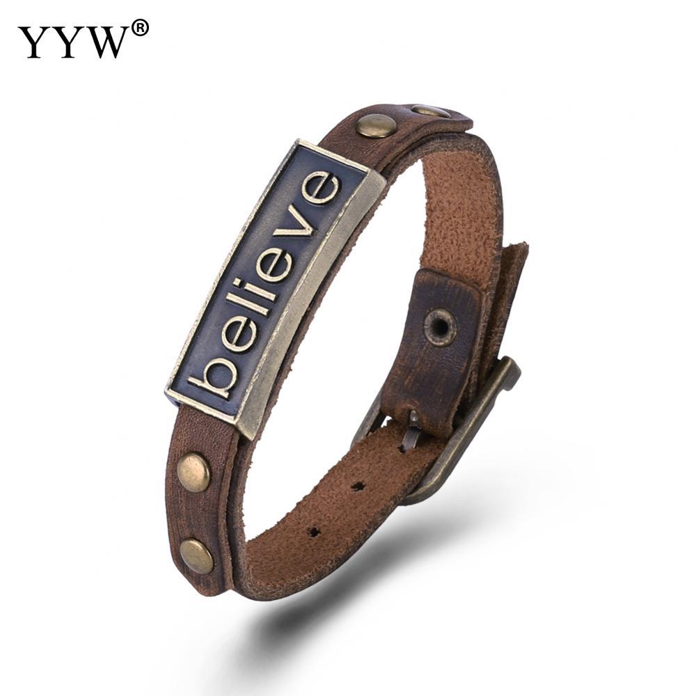 Men brown Leather believe badge antique bronze color Bracelets Rock Punk Charms Cuff Bracelets Bangles