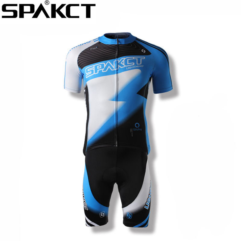 New SPAKCT Cycling Summer Men's Short Suits Bike Quick Dry Short Jersey Short Sleeve & Bicycle Gel Padded Shorts Red/Blue