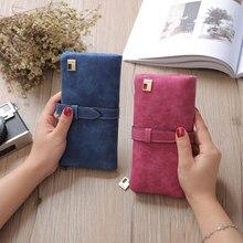 Купить с кэшбэком  2019 New Fashion Women Wallets Drawstring Nubuck Leather Zipper Wallet Women's Long Design Purse Two Fold More Color Clutch
