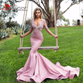 Sexy Mermaid Puffles Illusion Long Sleeve Formal Evening Prom Dresses 2016 Vestido De Festa Pink Vneck Arabic Girl Pageant Gown
