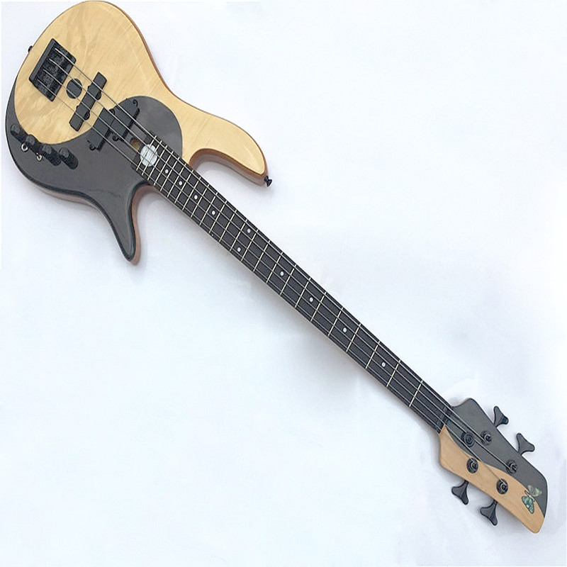 maple with rosewood black white color active 4 string bass guitar