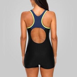Image 5 - Charmleaks ワンピースの女性スポーツ水着スポーツ水着カラーブロック水着オープンバックビーチウェア水着ビキニ