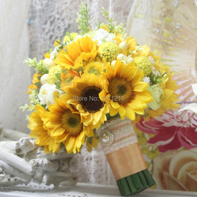 New Design Wedding Bouquets Sunflowers Beautiful Artificial Bridal ...