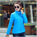 Free shipping 2016 New Women Plus size L to 4XL short Solid Slim Black Red  Yellow 3 color 4 size Down with Fur Collar Hat