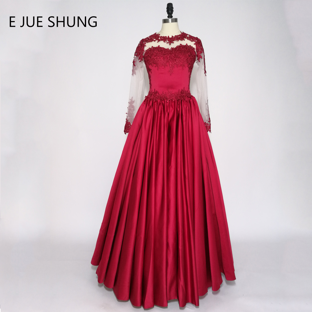 E JUE SHUNG Dark Red Lace Appliques Long Sleeves Wedding Dresses 2017 O-neck Sheer Back Wedding Gowns trouwjurk