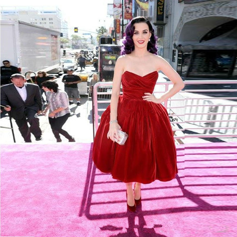Katy Perry Celebrity Dresses Velvet Vintage Sweetheart Ball Gown Red ... 65024c031a60