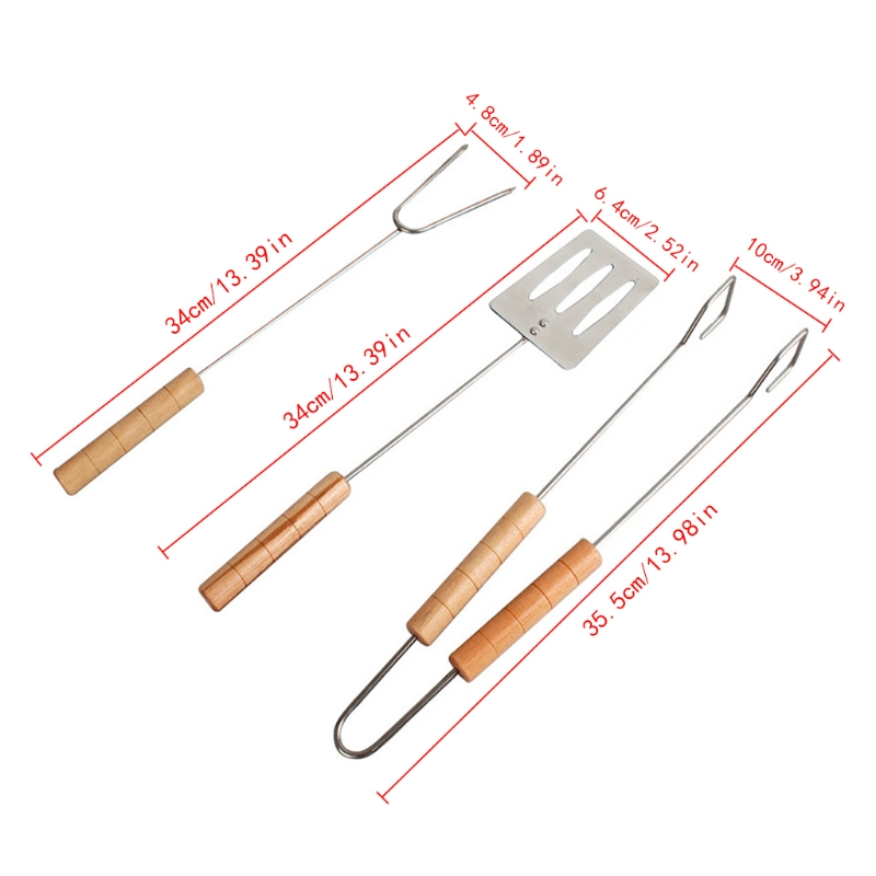 3Pcs/Set Stainless Steel Barbecue Tool Set Grilling Tongs Shovel Clamp Fork Utensils