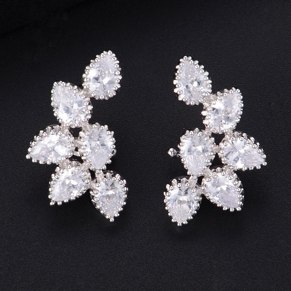 Women Unique Waterdrop Full CZ Stud Earrings For Bridal Engagement Earrings Jewelry