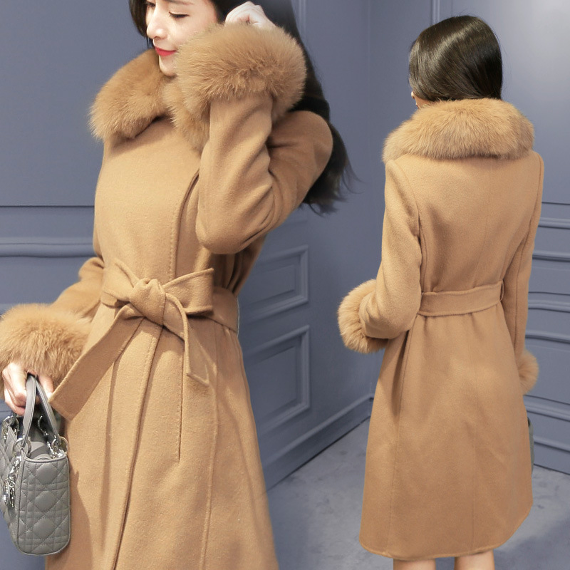 U-SWEAR Long Wool Winter Coat Elegant Fashion Collar Detachable Fur Collar Wool Blend Coat and Jacket Women Coats Autumn