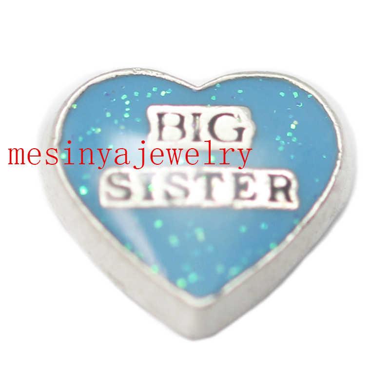 10 шт. в форме голубого сердца большая сестра пользовательские переливающиеся амулеты для стеклянного медальона