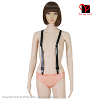 Sexy adjustable Braces Y Back garters Black Elastic Rubber belts Gummi Latex Suspenders plus size strap XXXL BD 001