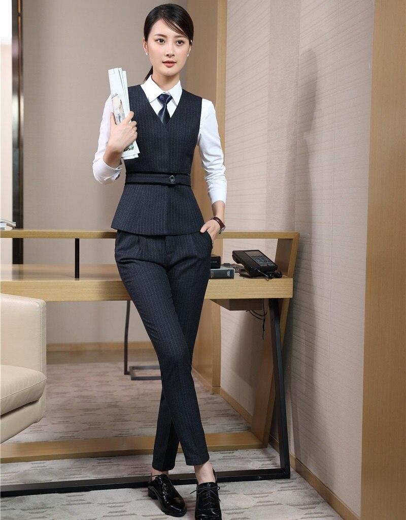 Nuevo estilo 2018 trajes de negocios para mujer con pantalones y conjuntos de Top chaleco negro y chaleco para mujer uniforme de oficina diseños-in Trajes de pantalón from Ropa de mujer    1