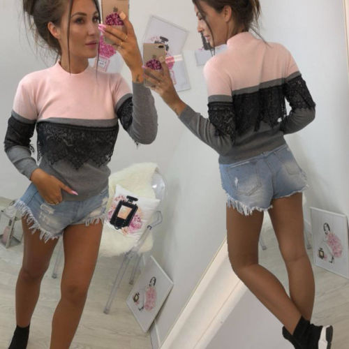 Fashion Women Ladies Casual Pullover Long Sleeve Loose Lace Tops T-Shirt