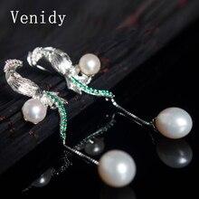 Venidy 2017 Brand Luxury 925 Sterling Silver Wedding Earrings 15-66mm Natural Pearl Vintage Earrings Jewelry for Women Earrings