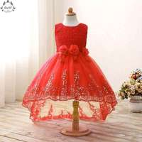 Red Lace Princess Gowns Summer Lace Ruffle Big Girls Party Dress Sleeveless Fashion Tail Dress Children