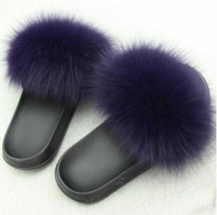 2018 New Summer Woman Fox Fur Slides Fluffy Real Hair Slippers Flat Non Slip Indoor Flip Flops Mujer Casual Furry Beach Sandals