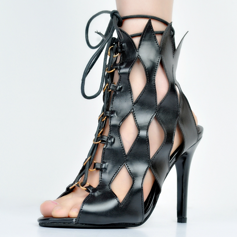 Black Hollow Out Gladiator Style Sandals For Women High Heels Open Toe Stilettos Heel Plus Size 34-45 Gladiator Sandals Women silver and gold short boots women sandals hollow out back zipper open toe high heel stilettos plus size fold ankle boots
