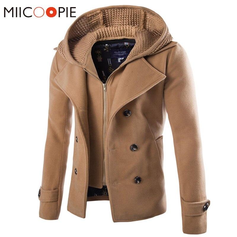 Good Quality Men Coat Winter Jackets Men Detachable Wool Cap Outwear Double breasted Windproof Slim Trench Coat XXXL Trench     - title=