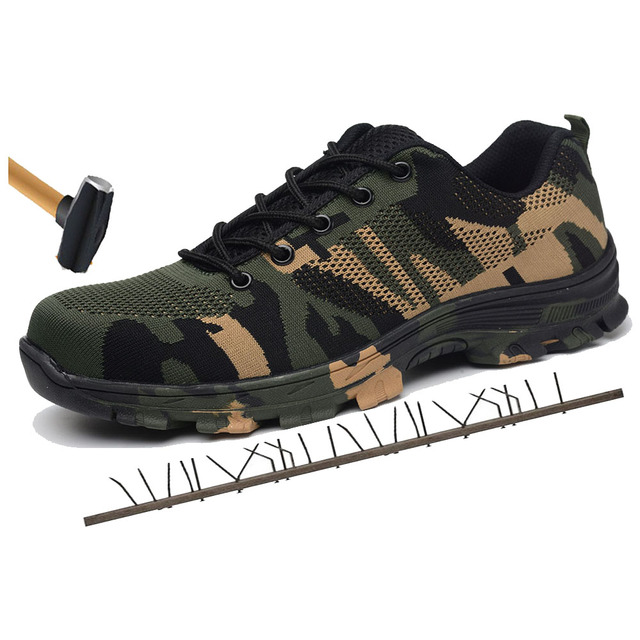 Construction Men's Outdoor Plus Size Steel Toe Cap Work Boots Shoes Men Camouflage Puncture Proof Safety Shoes Breathable 1