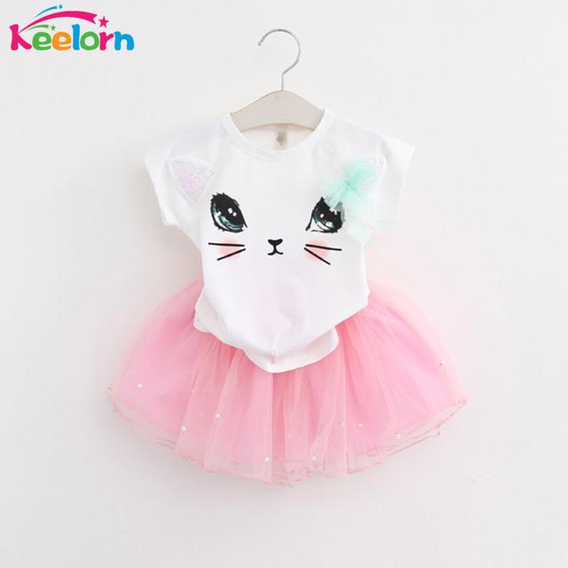 Keelorn Girls Dress 2017 Brand Kids Clothes White Cartoon Short Sleeve T-Shirt+Veil Dress 2Pcs baby girl clothes for 2-6Y