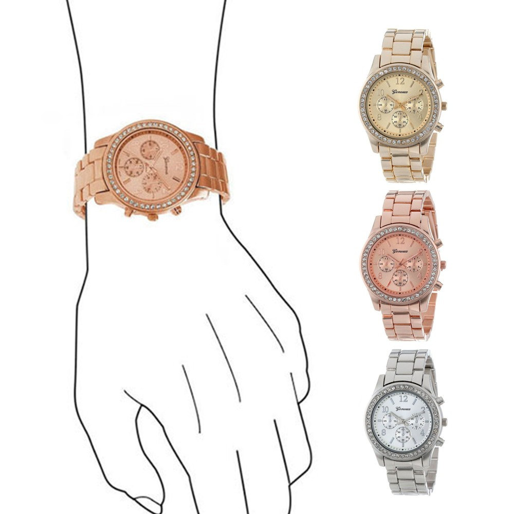 rose gold montre femme faux chronograph women watches plated classic round ladies watch crystals. Black Bedroom Furniture Sets. Home Design Ideas