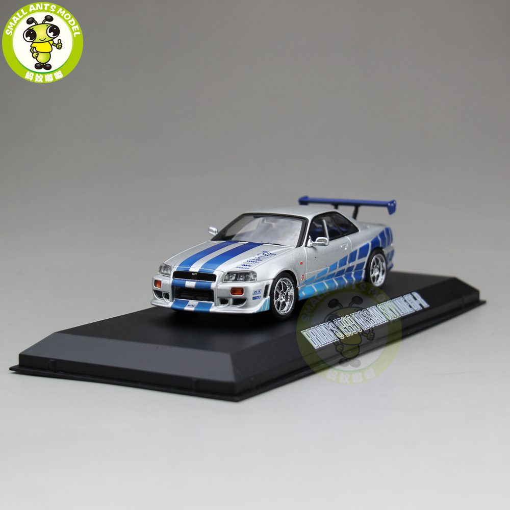 1/43 Fast Furious BRIANS 1999 Nissan Skyline GT-R GTR Diecast Model Car Toys Green Light ...