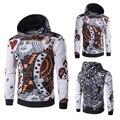 Sz M-XXL Панк Футболка Мужчины 3D Покер К Цветной Печати блок Тонкий С Капюшоном Подходят Пуловеры Вскользь Толстовки и Кофты Мужчины одежда