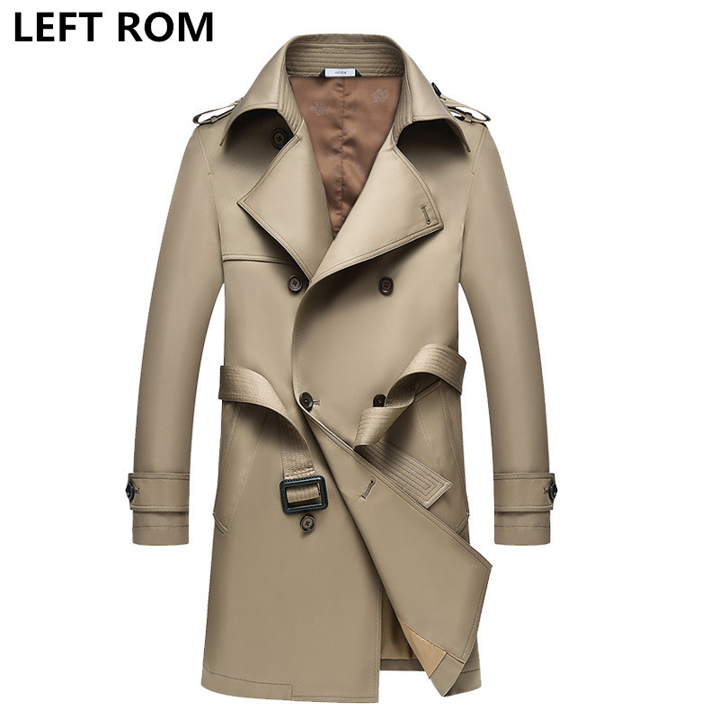 где купить LEFT ROM fashion men High grade pure color Double-breasted trench coat/male leisure Keep warm Business jacket Large size S-4XL дешево