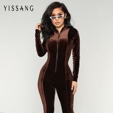 87c5da35e0f5 Yissang Velvet Long Bodycon Autumn Winter Rompers Womens Jumpsuit Sexy  Elegant Brown Long Sleeve Jumpsuits For Women 2018