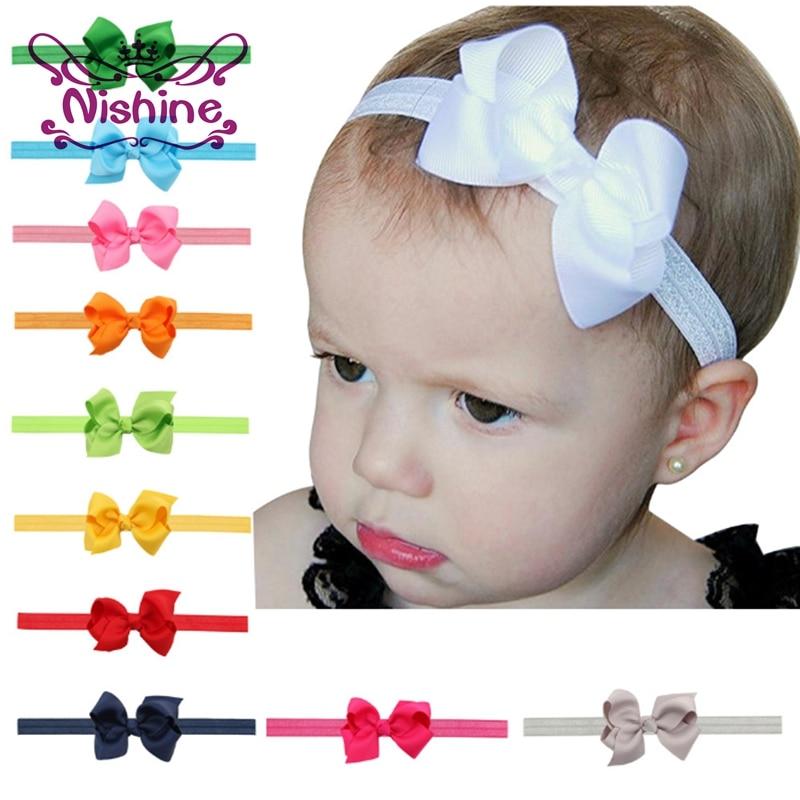 Nishine 1Pcs Fashion Children Kids Baby Girl Bow Headband Toddler Headwear Ribbon Bowknot Hair Band Hair Accessories