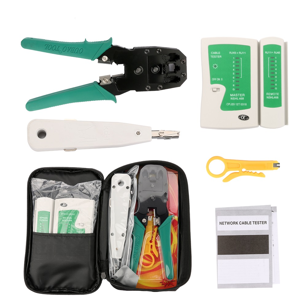 Portable Ethernet Network Cable Tester Tools Kit RJ45 Crimping Crimper Stripper Punch RJ11 Cat5 Cat5E Cat6 Wire Line Detector
