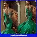 Mulheres Sexy vestidos formais sereia estilo árabe vestido de noite frisado cristais esmeralda turcos vestidos de noite