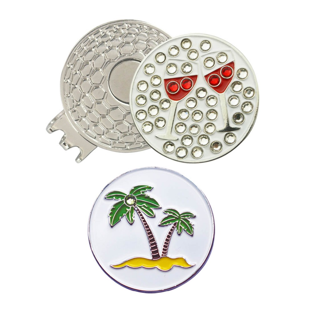 PINMEI Golf Ball Mark Magnetic Hat Clip Sets 1pc Crystal Wine Glass Marker And 1pcs Palm Tree Golf Marker And 1pc Cap Clip Sets
