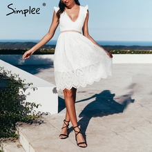 Simplee Sexy white women summer dress 2019 Backless v neck ruffle cotton lace dress Vintage holiday beach short female vestidos
