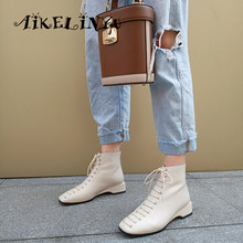 AIKELINYU British Style Lace Up Genuine Leather Solid New Fashion Sexy Girls Square Toe Med Thick Heels Cross-tied Mid-calf Boot