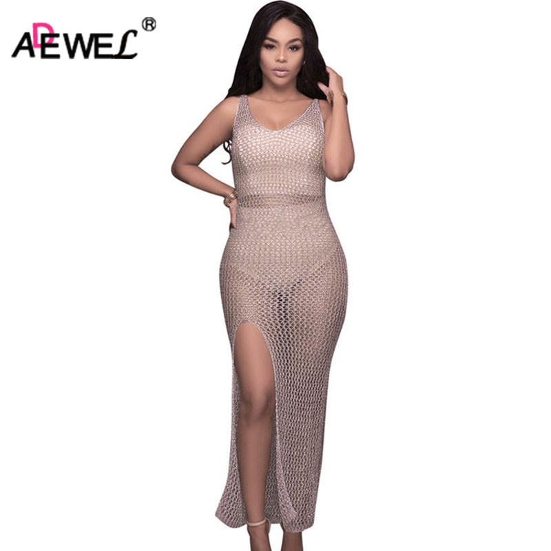 ADEWEL Sexy See Through Knitted Crochet Long Women Night Club Dress Split Hollow Back Maxi Dress Bodycon Party Wear long criss cross open back formal party dress